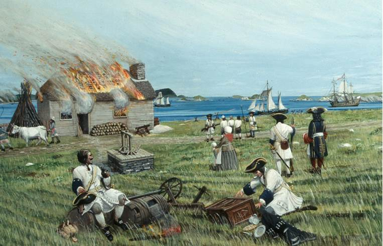 Figure 1 David Webber's artist's impression of French soldiers sacking Ferryland in 1696. (Image courtesy of the Colony of Avalon Foundation)