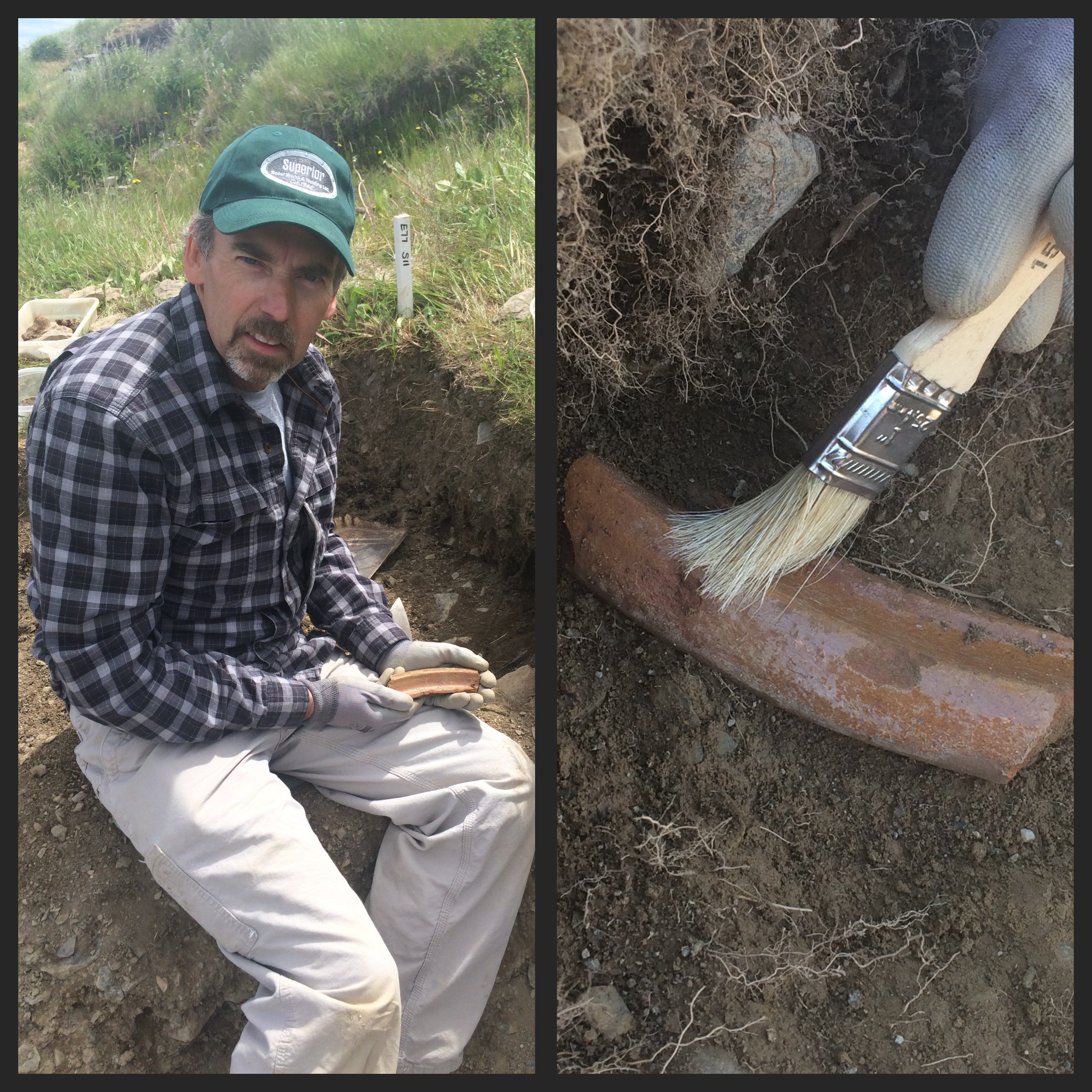Terry Clarke from Hamilton, Ontario, was another Archaeologist for a Day during our 2016 field season. Among other artifacts, he uncovered this large rim fragment of a 17th century milk pan!
