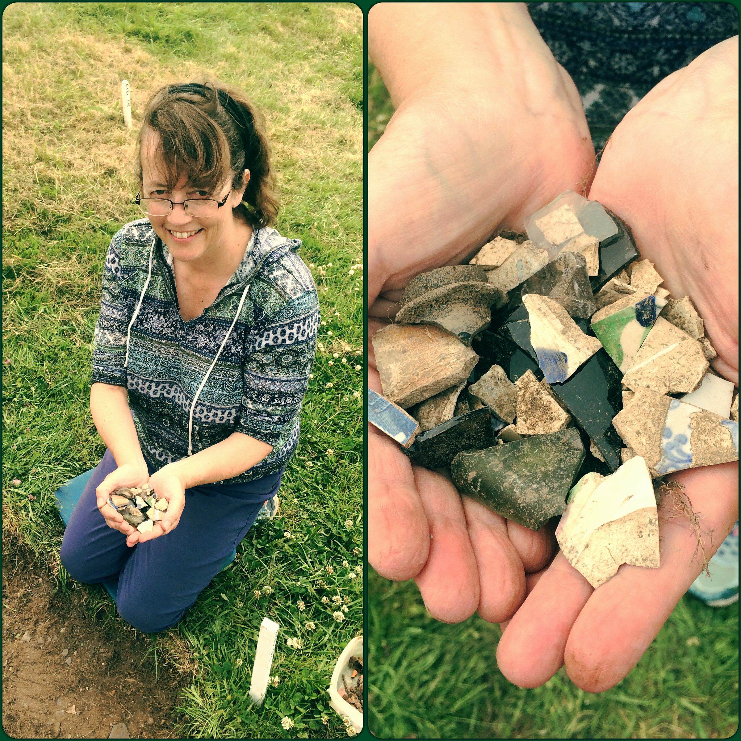 Liz Newton from Topsail, Newfoundland, participated in our Archaeologist for a Day program. She found handfuls of ceramics, glass, tobacco pipes, and lots of iron nails (not pictured)! She had a blast!