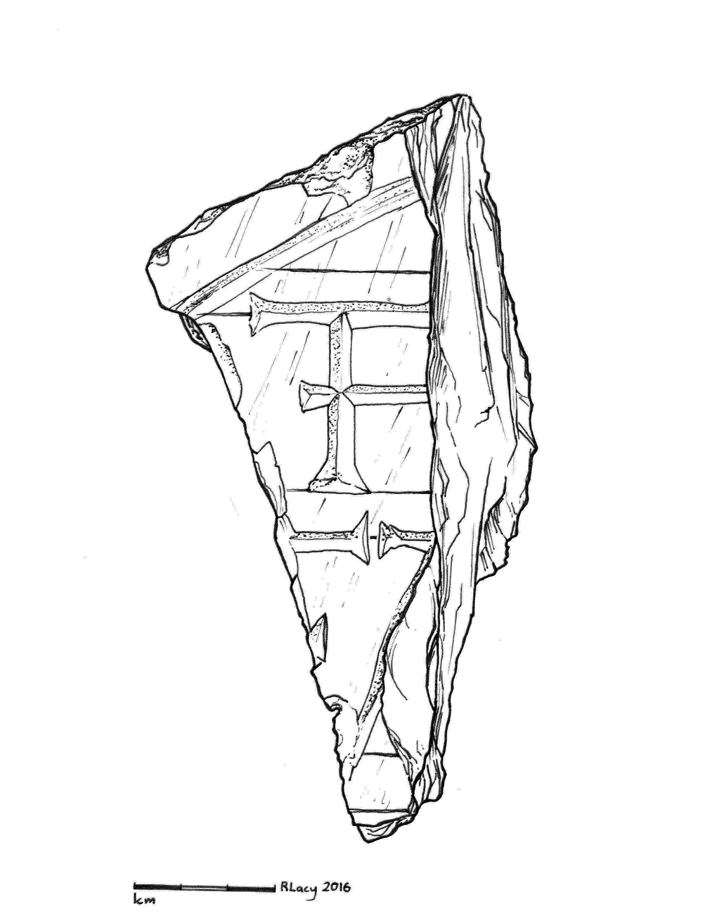 Illustration of one of the gravestone fragments previously uncovered.